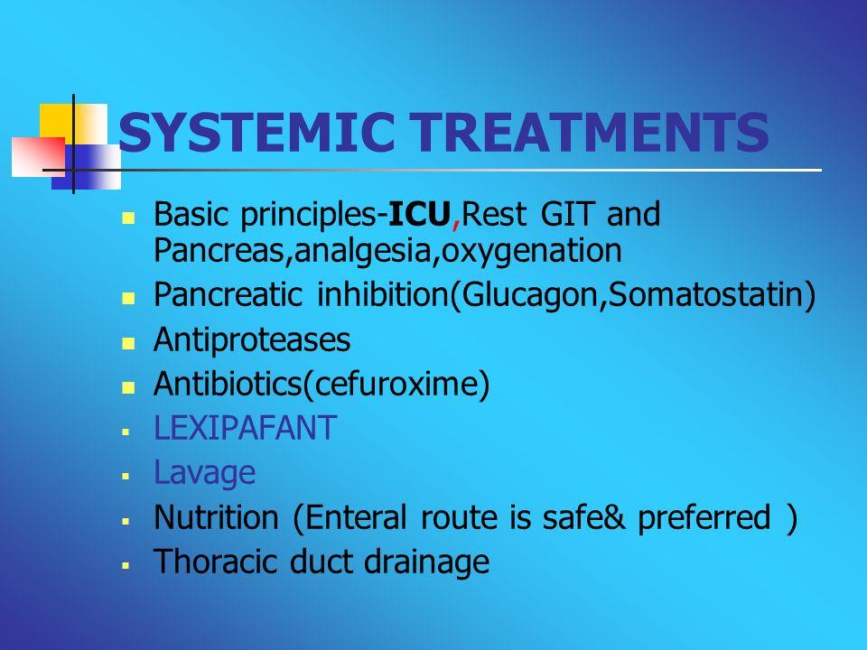 SYSTEMIC TREATMENTS Basic principles-ICU,Rest GIT and Pancreas,analgesia,oxygenation Pancreatic inhibition(Glucagon,Somatostatin) Antiproteases Antibi