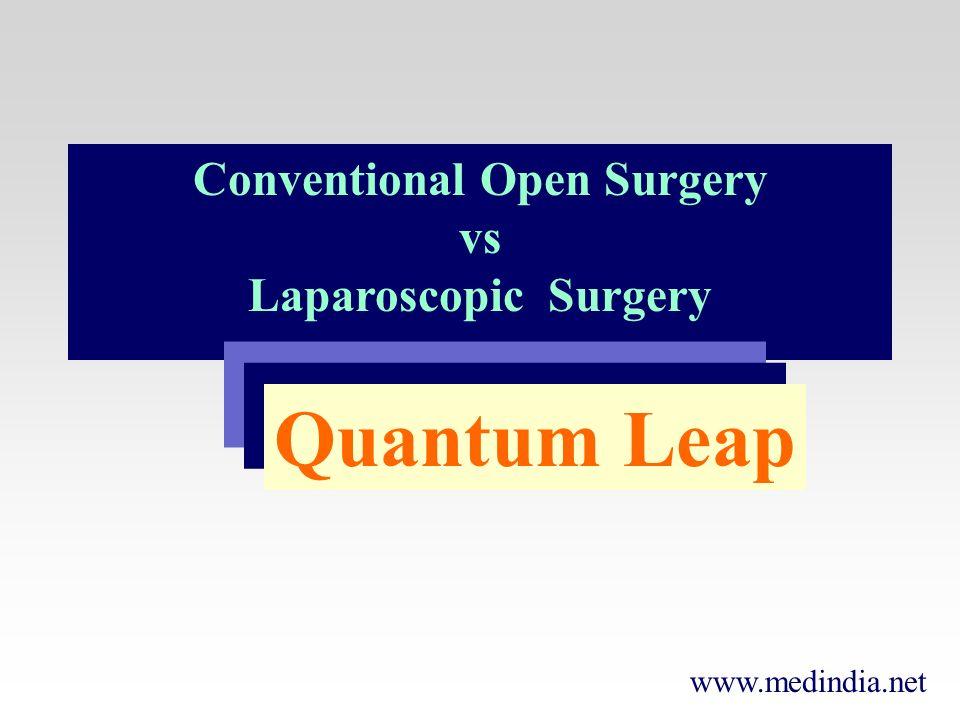 www.medindia.net Conventional Open Surgery vs Laparoscopic Surgery Quantum Leap