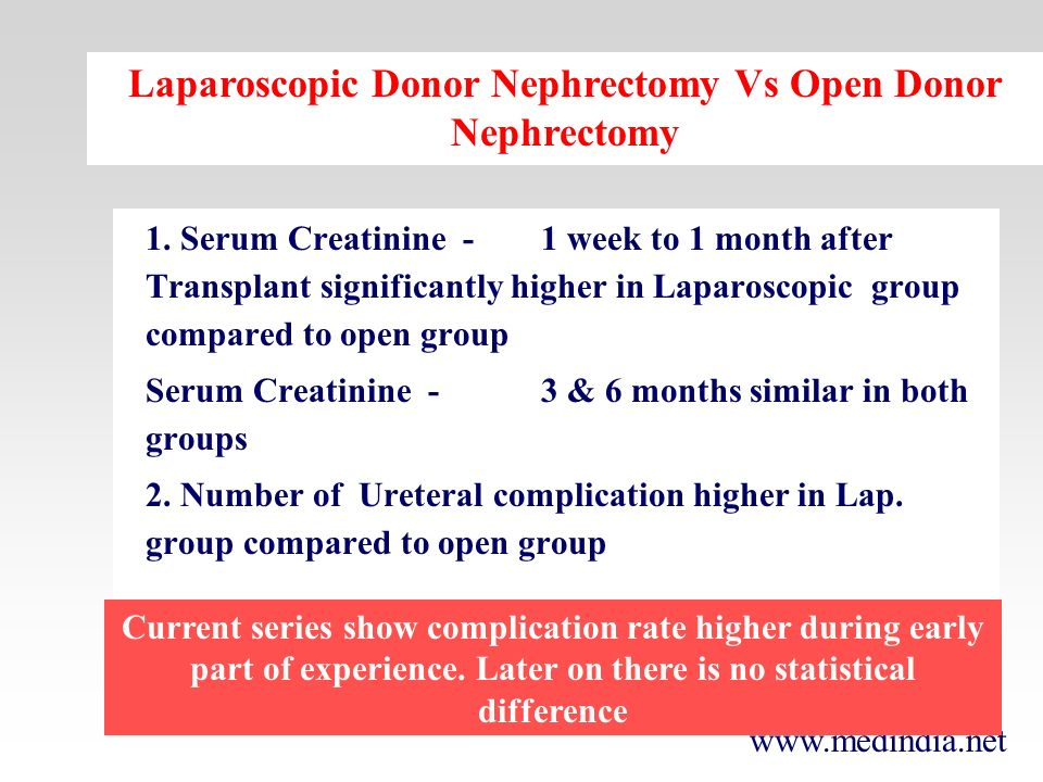 www.medindia.net 1. Serum Creatinine -1 week to 1 month after Transplant significantly higher in Laparoscopic group compared to open group Serum Creat