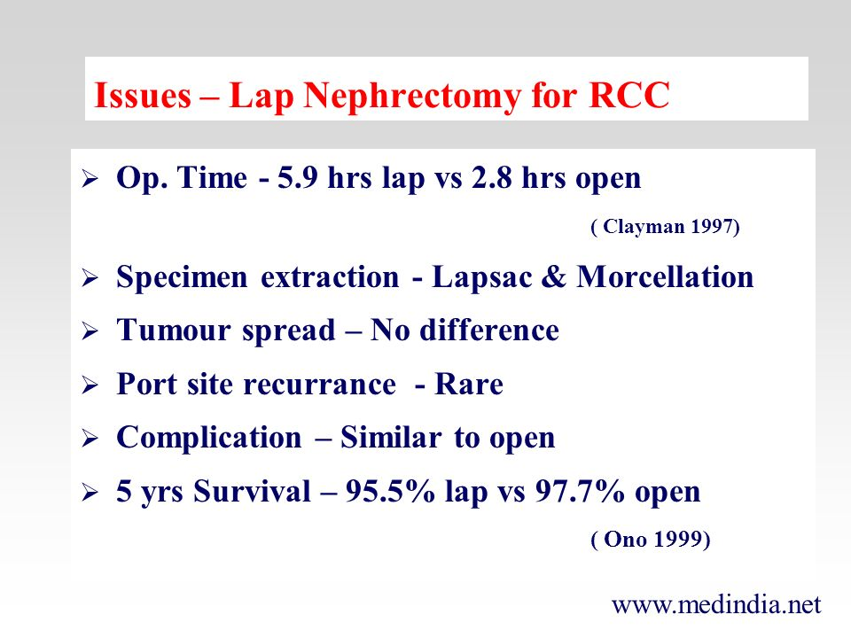 www.medindia.net Op. Time - 5.9 hrs lap vs 2.8 hrs open ( Clayman 1997) Specimen extraction - Lapsac & Morcellation Tumour spread – No difference Port