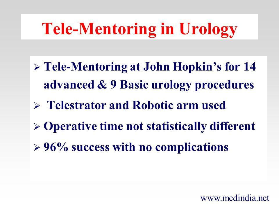 www.medindia.net Tele-Mentoring in Urology Tele-Mentoring at John Hopkins for 14 advanced & 9 Basic urology procedures Telestrator and Robotic arm use