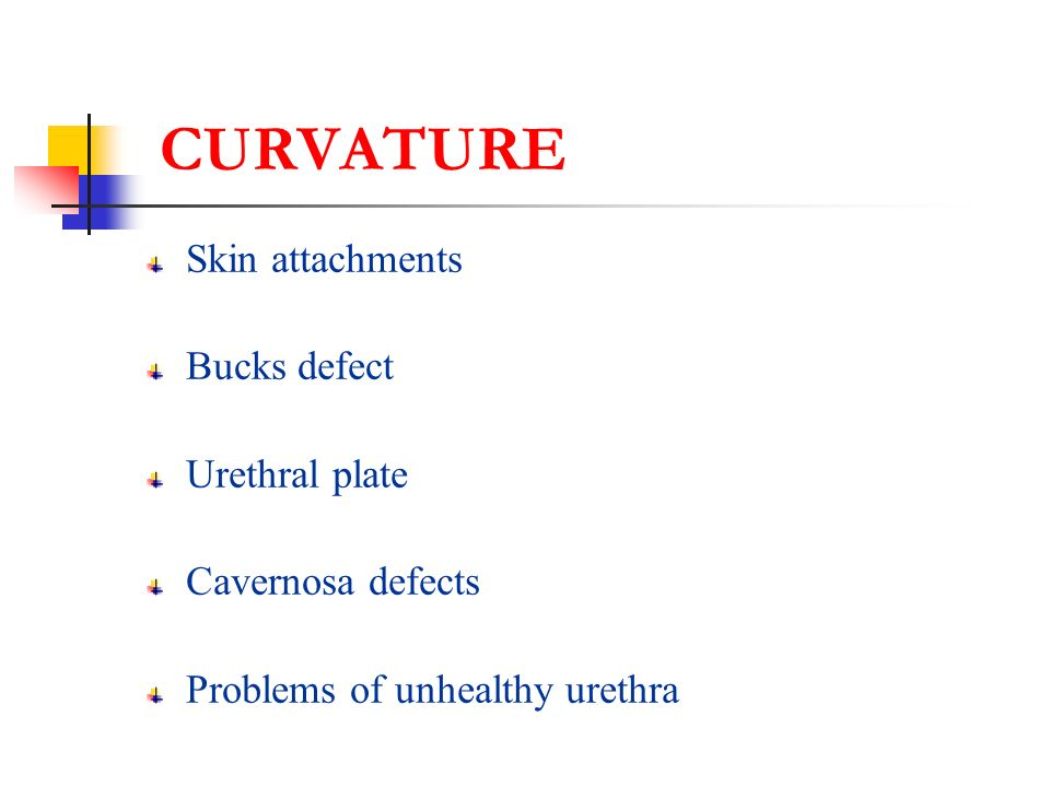 CURVATURE Skin attachments Bucks defect Urethral plate Cavernosa defects Problems of unhealthy urethra
