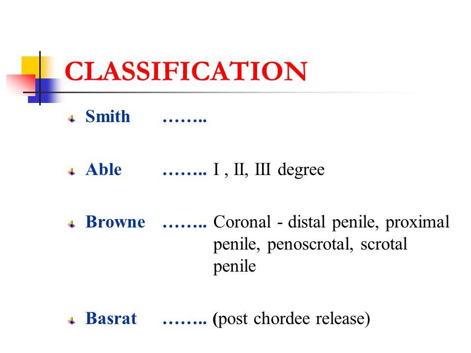 CLASSIFICATION (LOCATION ) DISTAL Glandular, Coronal, Distal penile MIDPENILE Midshaft PROXIMAL Proximal penile, Penoscrotal, Scrotal, Perineal