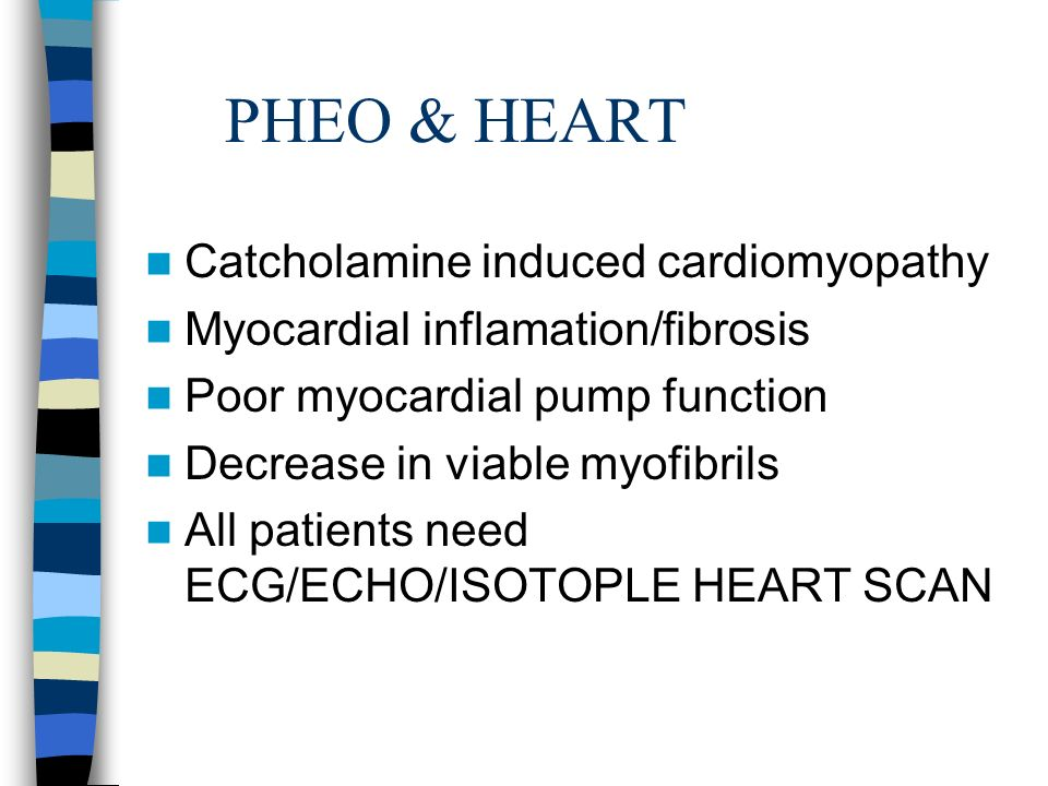 PHEO & HEART Catcholamine induced cardiomyopathy Myocardial inflamation/fibrosis Poor myocardial pump function Decrease in viable myofibrils All patients need ECG/ECHO/ISOTOPLE HEART SCAN