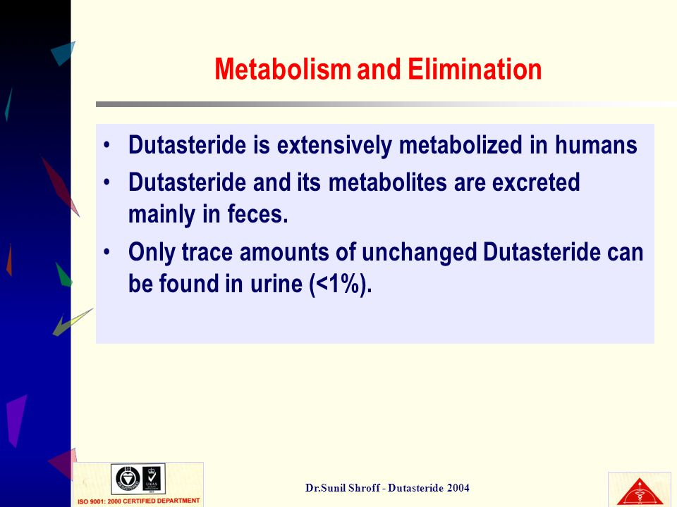 Dr.Sunil Shroff - Dutasteride 2004 Metabolism and Elimination Dutasteride is extensively metabolized in humans Dutasteride and its metabolites are exc