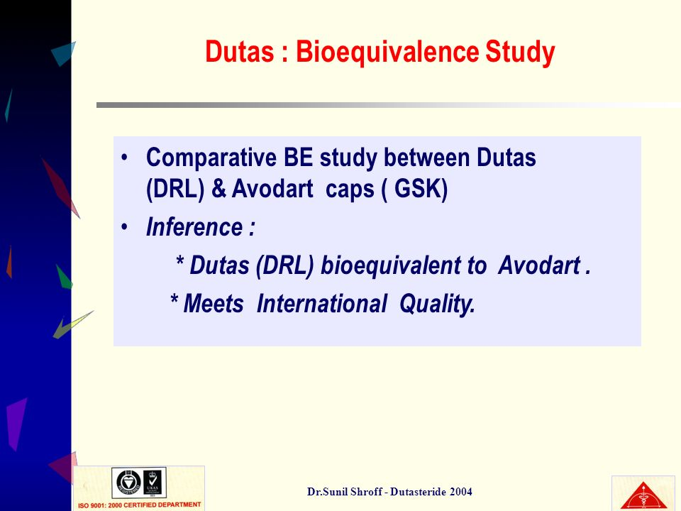 Dr.Sunil Shroff - Dutasteride 2004 Dutas : Bioequivalence Study Comparative BE study between Dutas (DRL) & Avodart caps ( GSK) Inference : * Dutas (DR