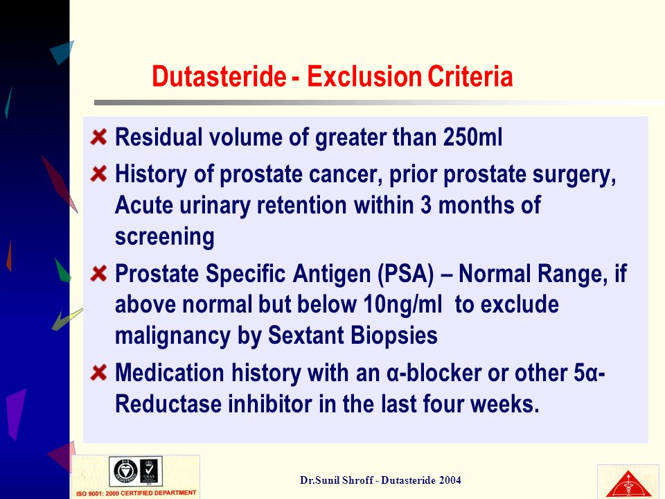 Dr.Sunil Shroff - Dutasteride 2004 Dutasteride - Exclusion Criteria Residual volume of greater than 250ml History of prostate cancer, prior prostate s