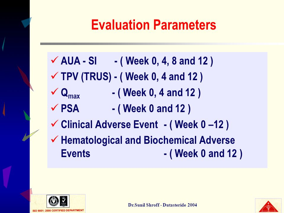 Dr.Sunil Shroff - Dutasteride 2004 Evaluation Parameters AUA - SI - ( Week 0, 4, 8 and 12 ) TPV (TRUS) - ( Week 0, 4 and 12 ) Q max - ( Week 0, 4 and