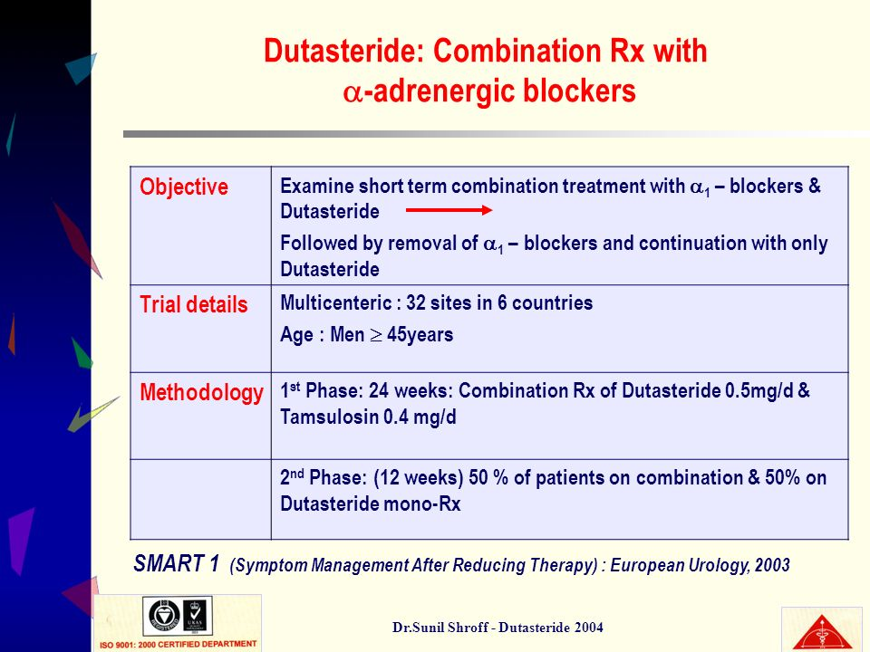 Dr.Sunil Shroff - Dutasteride 2004 Dutasteride: Combination Rx with -adrenergic blockers Objective Examine short term combination treatment with 1 – b