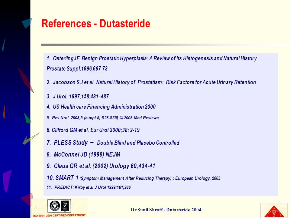 Dr.Sunil Shroff - Dutasteride 2004 1. OsterlingJE. Benign Prostatic Hyperplasia: A Review of its Histogenesis and Natural History. Prostate Suppl.1996