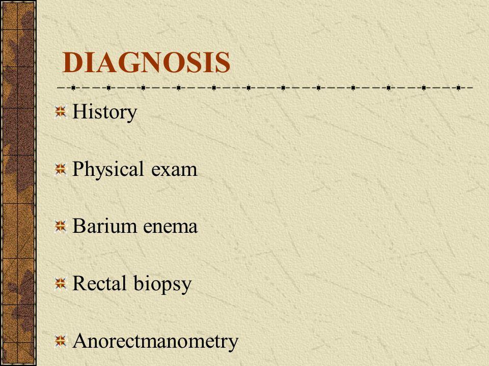 DIAGNOSIS History Physical exam Barium enema Rectal biopsy Anorectmanometry