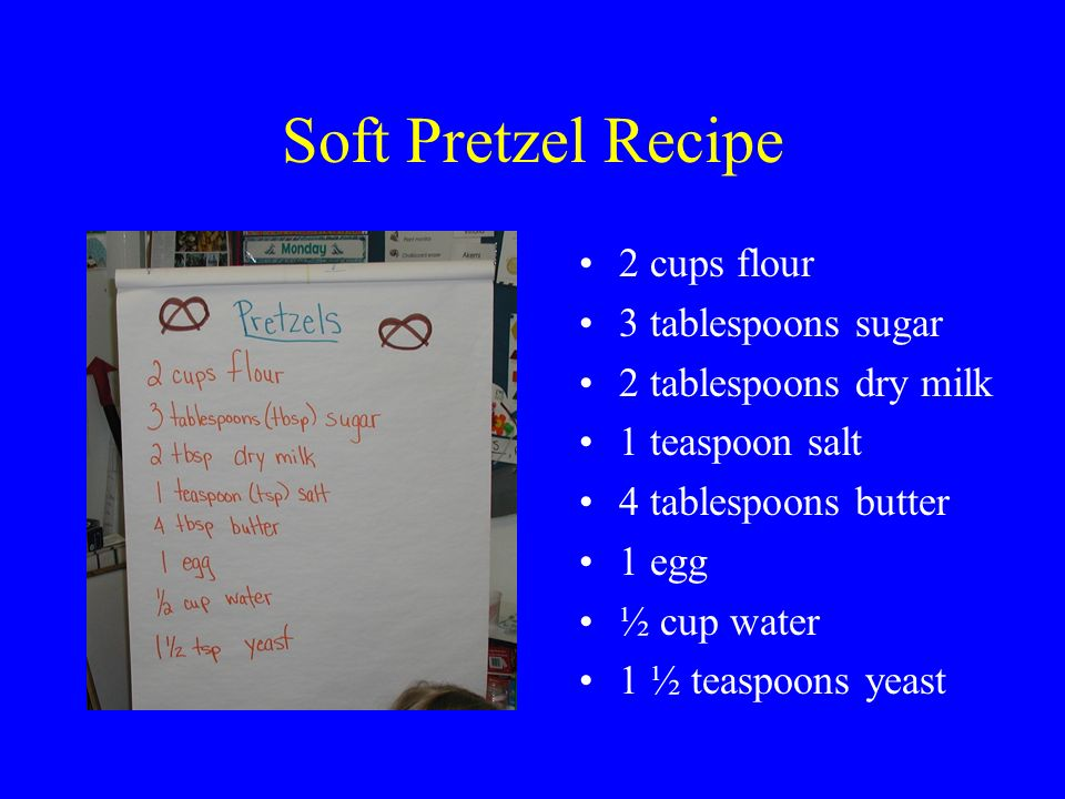 Definitions for making pretzels. ingredients- a list of foods needed to make the pretzels recipe- the directions and ingredients to make pretzels tabl
