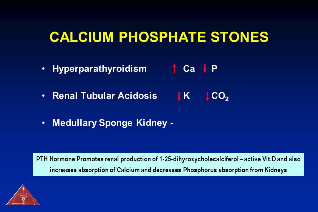 CALCIUM PHOSPHATE STONES Hyperparathyroidism Ca P Renal Tubular AcidosisKCO 2 Medullary Sponge Kidney - PTH Hormone Promotes renal production of 1-25-