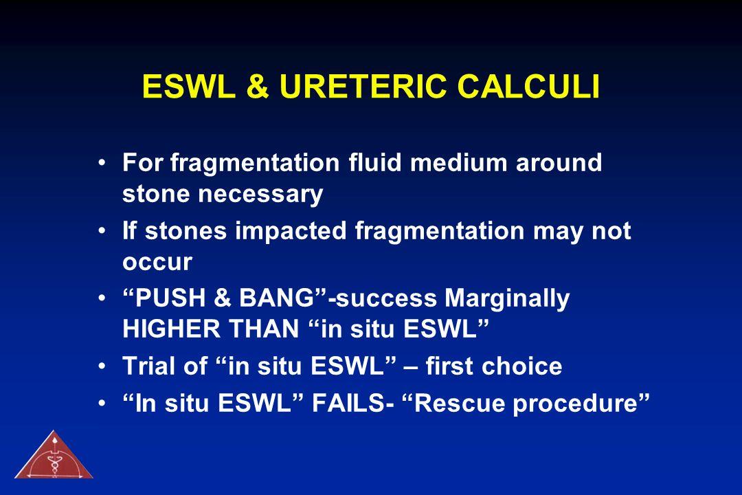 ESWL & URETERIC CALCULI For fragmentation fluid medium around stone necessary If stones impacted fragmentation may not occur PUSH & BANG-success Margi