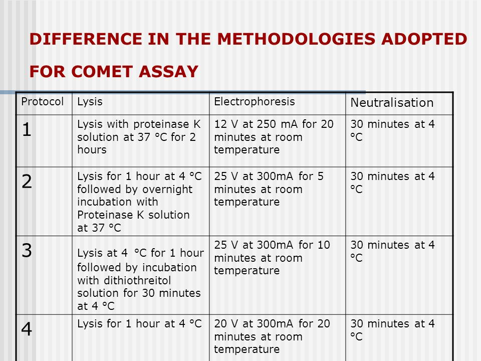 DIFFERENCE IN THE METHODOLOGIES ADOPTED FOR COMET ASSAY ProtocolLysisElectrophoresis Neutralisation 1 Lysis with proteinase K solution at 37 °C for 2