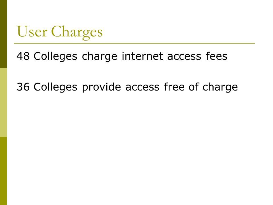 User Charges 48 Colleges charge internet access fees 36 Colleges provide access free of charge