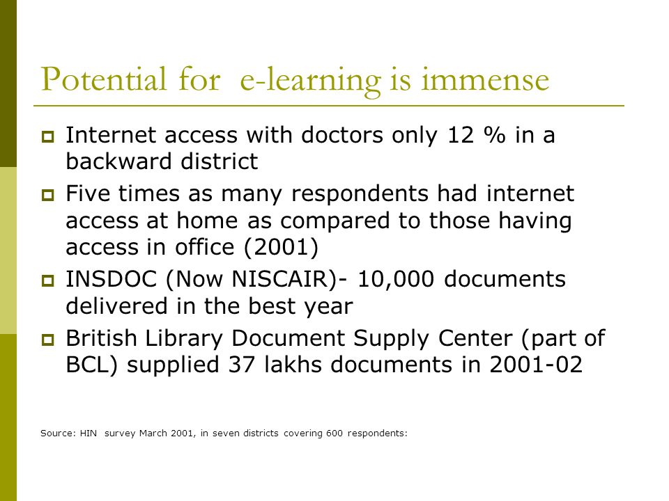 Potential for e-learning is immense Internet access with doctors only 12 % in a backward district Five times as many respondents had internet access at home as compared to those having access in office (2001) INSDOC (Now NISCAIR)- 10,000 documents delivered in the best year British Library Document Supply Center (part of BCL) supplied 37 lakhs documents in 2001-02 Source: HIN survey March 2001, in seven districts covering 600 respondents: