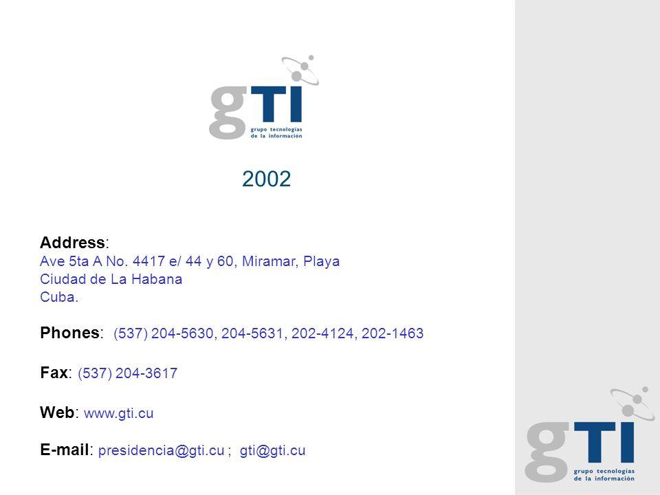2002 Address: Ave 5ta A No. 4417 e/ 44 y 60, Miramar, Playa Ciudad de La Habana Cuba.