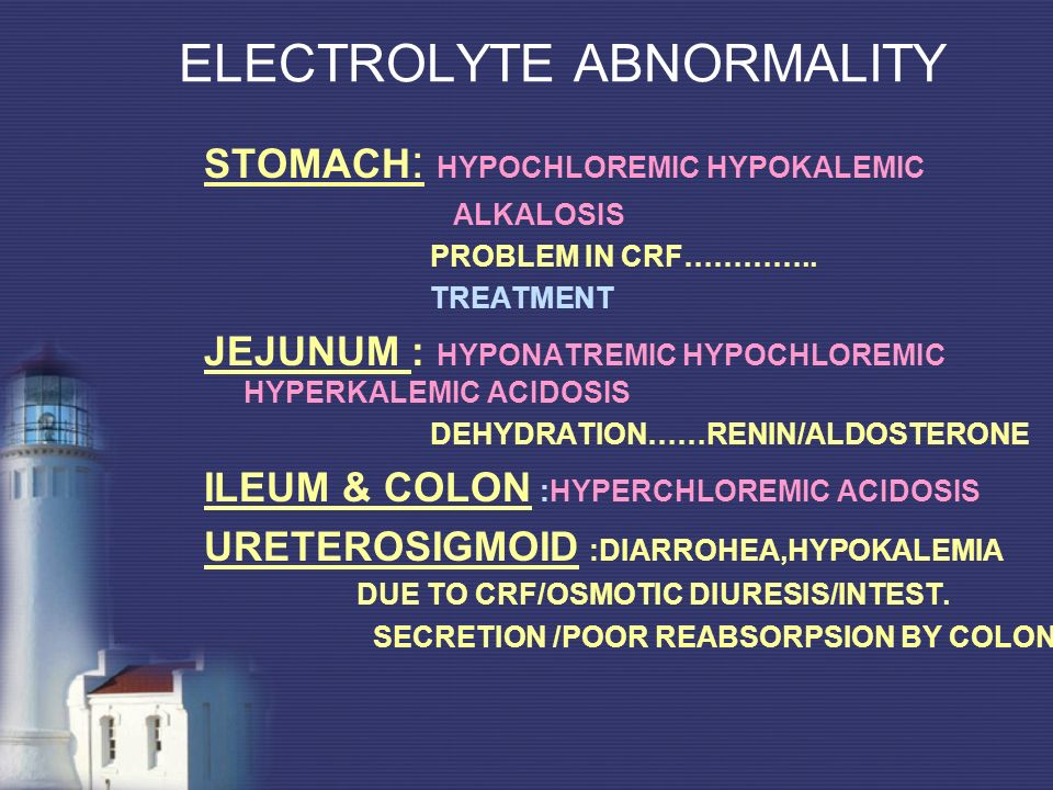 ELECTROLYTE ABNORMALITY STOMACH : HYPOCHLOREMIC HYPOKALEMIC ALKALOSIS PROBLEM IN CRF………….. TREATMENT JEJUNUM : HYPONATREMIC HYPOCHLOREMIC HYPERKALEMIC