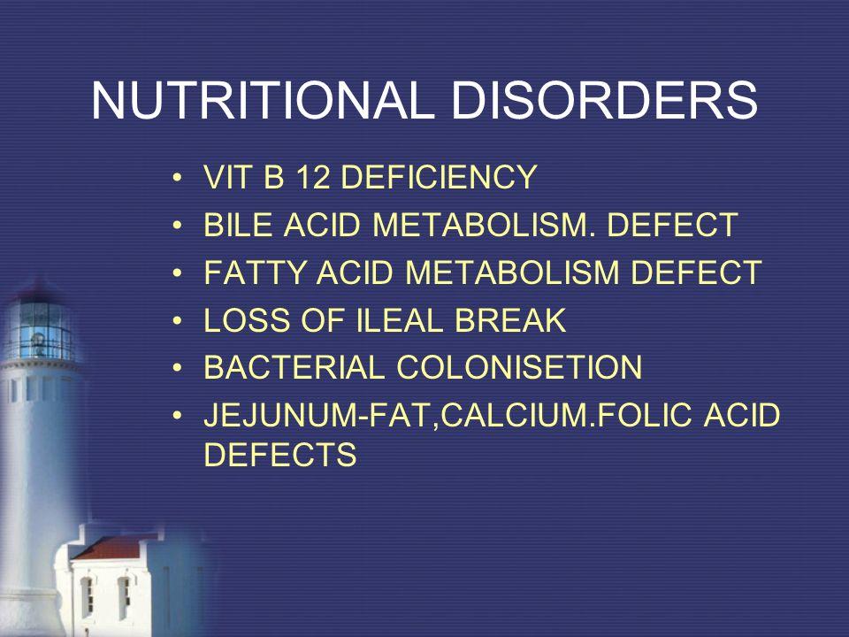 NUTRITIONAL DISORDERS VIT B 12 DEFICIENCY BILE ACID METABOLISM. DEFECT FATTY ACID METABOLISM DEFECT LOSS OF ILEAL BREAK BACTERIAL COLONISETION JEJUNUM