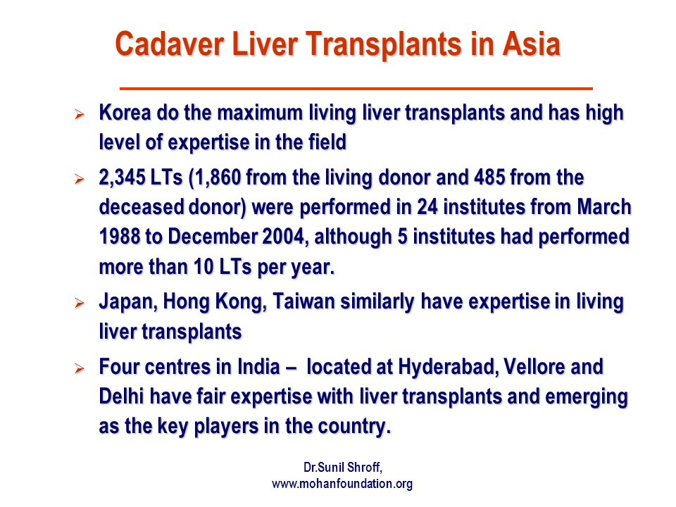 Dr.Sunil Shroff, www.mohanfoundation.org Cadaver Liver Transplants in Asia Korea do the maximum living liver transplants and has high level of expertise in the field Korea do the maximum living liver transplants and has high level of expertise in the field 2,345 LTs (1,860 from the living donor and 485 from the deceased donor) were performed in 24 institutes from March 1988 to December 2004, although 5 institutes had performed more than 10 LTs per year.