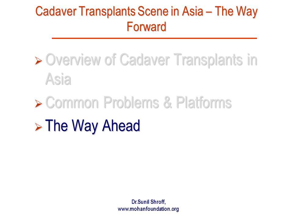 Dr.Sunil Shroff, www.mohanfoundation.org Cadaver Transplants Scene in Asia – The Way Forward Overview of Cadaver Transplants in Asia Overview of Cadav
