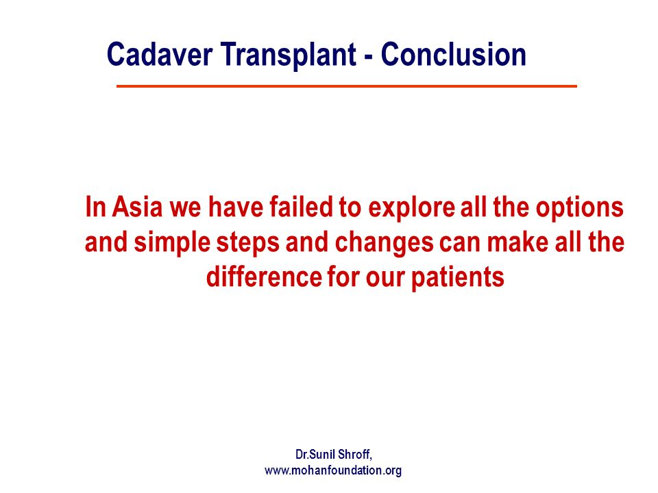 Dr.Sunil Shroff, www.mohanfoundation.org In Asia we have failed to explore all the options and simple steps and changes can make all the difference for our patients Cadaver Transplant - Conclusion