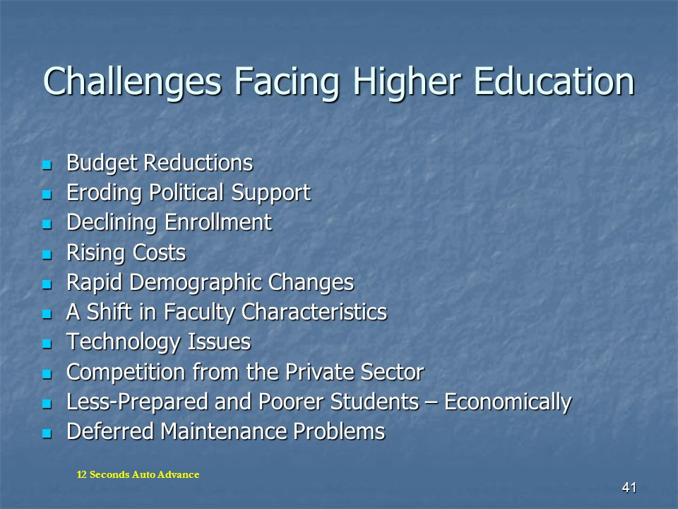 41 Challenges Facing Higher Education Budget Reductions Budget Reductions Eroding Political Support Eroding Political Support Declining Enrollment Dec