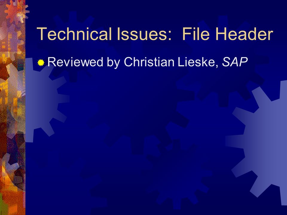 Technical Issues: File Header Reviewed by Christian Lieske, SAP