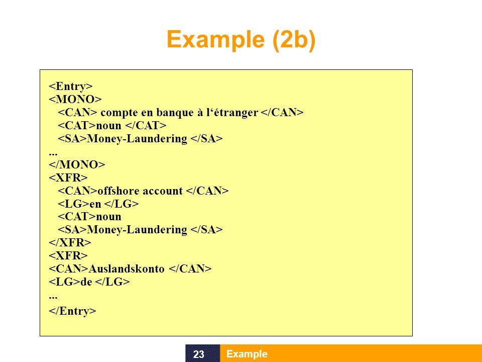 23 Example Example (2b) compte en banque à létranger noun Money-Laundering... offshore account en noun Money-Laundering Auslandskonto de...