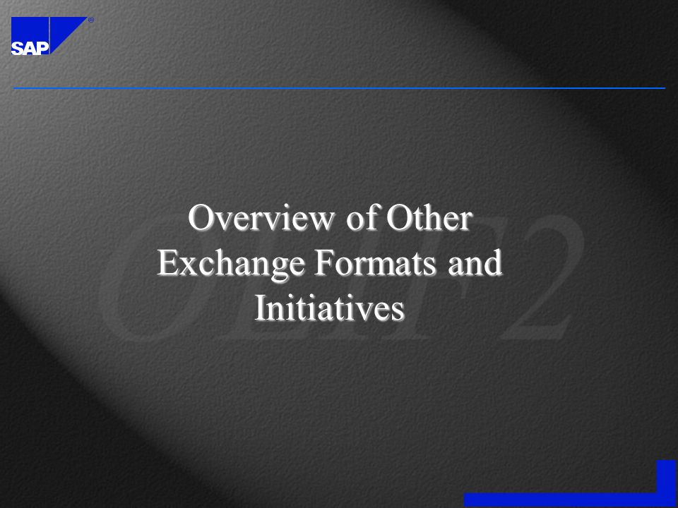 Overview of Other Exchange Formats and Initiatives