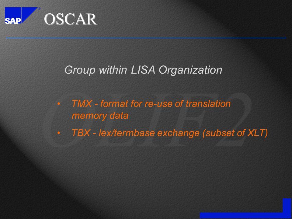 OSCAR TMX - format for re-use of translation memory data TBX - lex/termbase exchange (subset of XLT) Group within LISA Organization