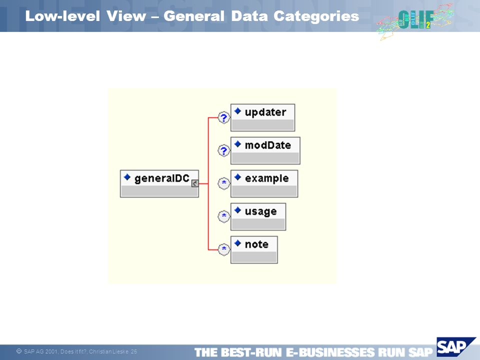 SAP AG 2001, Does it fit?, Christian Lieske 25 Low-level View – General Data Categories