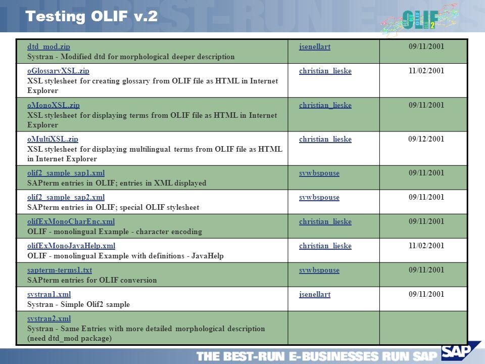 Testing OLIF v.2 dtd_mod.zip dtd_mod.zip Systran - Modified dtd for morphological deeper description jsenellart09/11/2001 oGlossaryXSL.zip oGlossaryXS