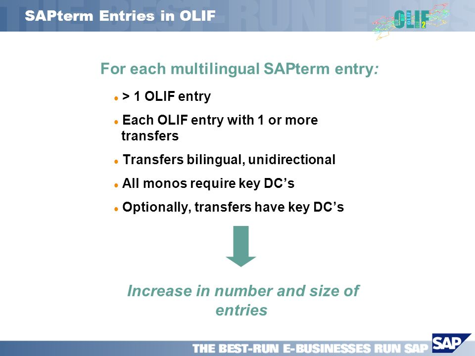 SAPterm Entries in OLIF > 1 OLIF entry Each OLIF entry with 1 or more ttransfers Transfers bilingual, unidirectional All monos require key DCs Optionally, transfers have key DCs For each multilingual SAPterm entry: Increase in number and size of entries