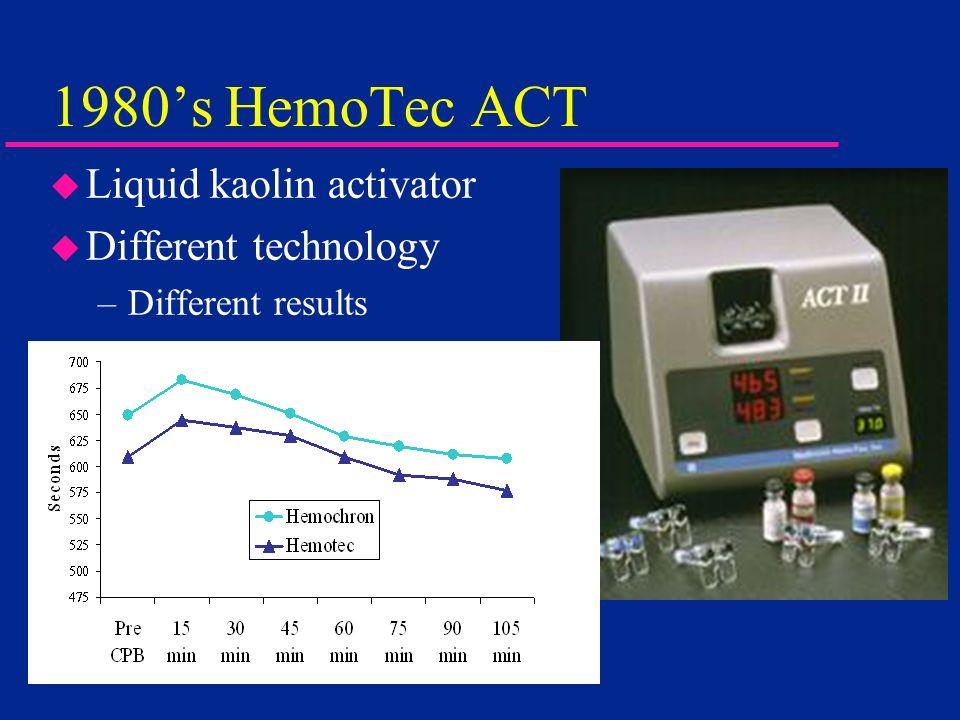 1980s HemoTec ACT u Liquid kaolin activator u Different technology –Different results