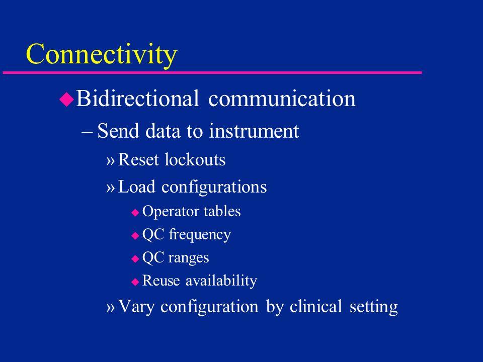 Connectivity u Bidirectional communication –Send data to instrument »Reset lockouts »Load configurations u Operator tables u QC frequency u QC ranges