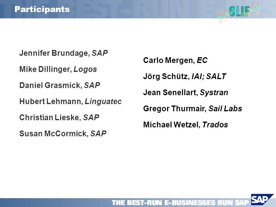 Participants Jennifer Brundage, SAP Mike Dillinger, Logos Daniel Grasmick, SAP Hubert Lehmann, Linguatec Christian Lieske, SAP Susan McCormick, SAP Ca