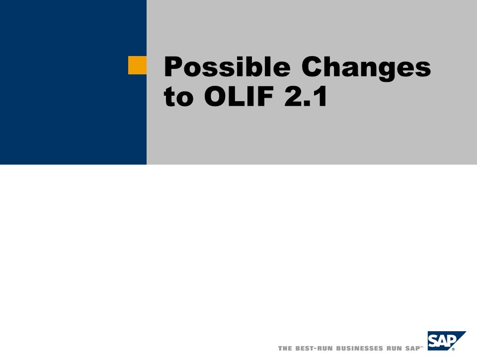 Possible Changes to OLIF 2.1