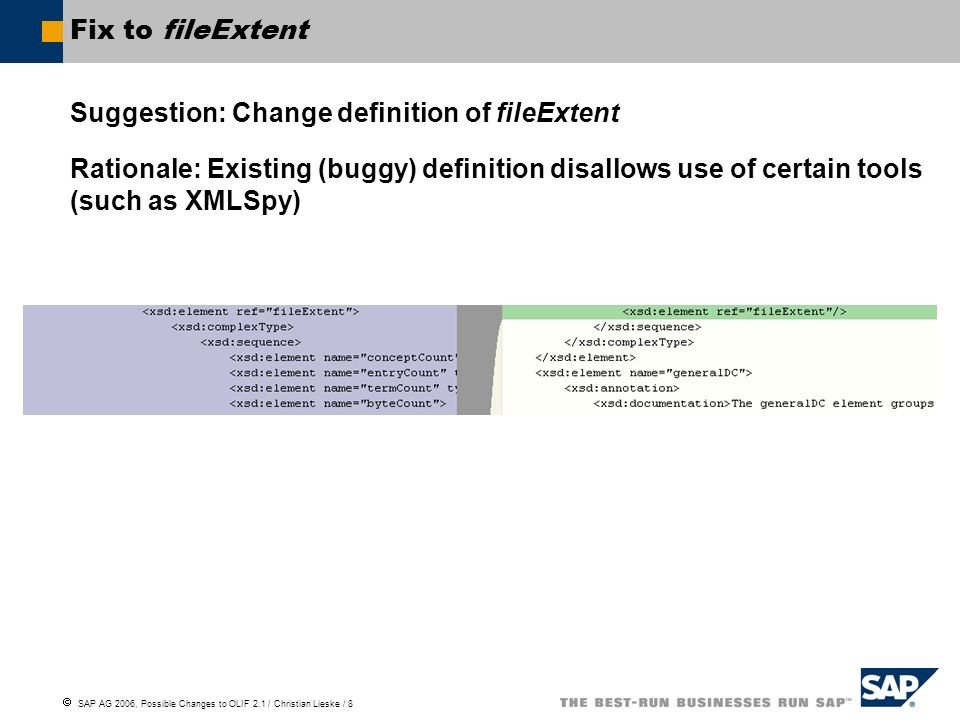 SAP AG 2006, Possible Changes to OLIF 2.1 / Christian Lieske / 8 Fix to fileExtent Suggestion: Change definition of fileExtent Rationale: Existing (buggy) definition disallows use of certain tools (such as XMLSpy)