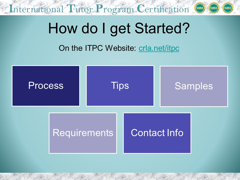 I nternational T utor P rogram C ertification ProcessTips Samples RequirementsContact Info How do I get Started.