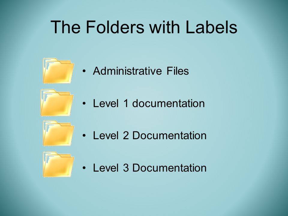 The Folders with Labels Administrative Files Level 1 documentation Level 2 Documentation Level 3 Documentation