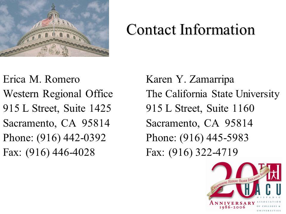 Contact Information Erica M. RomeroKaren Y.