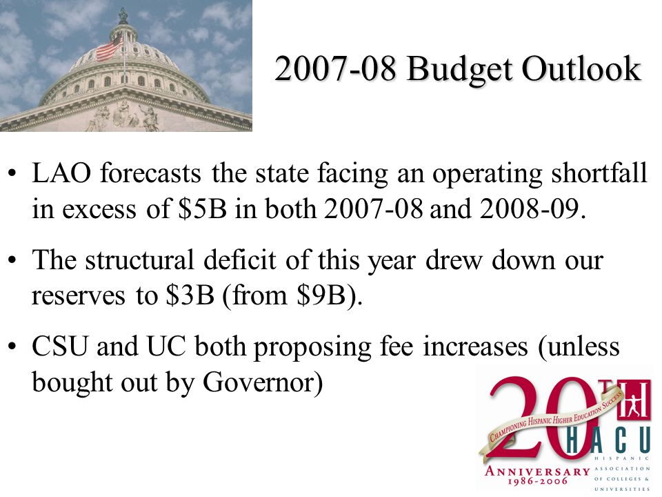 Budget Outlook LAO forecasts the state facing an operating shortfall in excess of $5B in both and