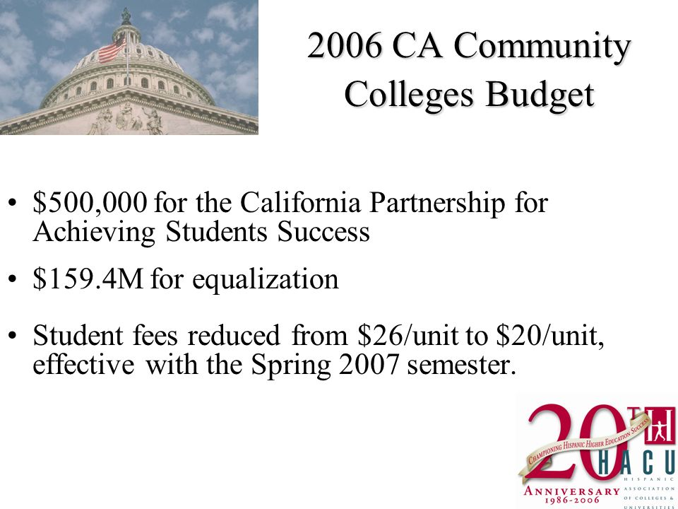 2006 CA Community Colleges Budget $500,000 for the California Partnership for Achieving Students Success $159.4M for equalization Student fees reduced from $26/unit to $20/unit, effective with the Spring 2007 semester.