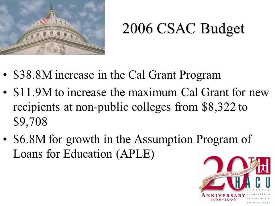 2006 CSAC Budget $38.8M increase in the Cal Grant Program $11.9M to increase the maximum Cal Grant for new recipients at non-public colleges from $8,322 to $9,708 $6.8M for growth in the Assumption Program of Loans for Education (APLE)
