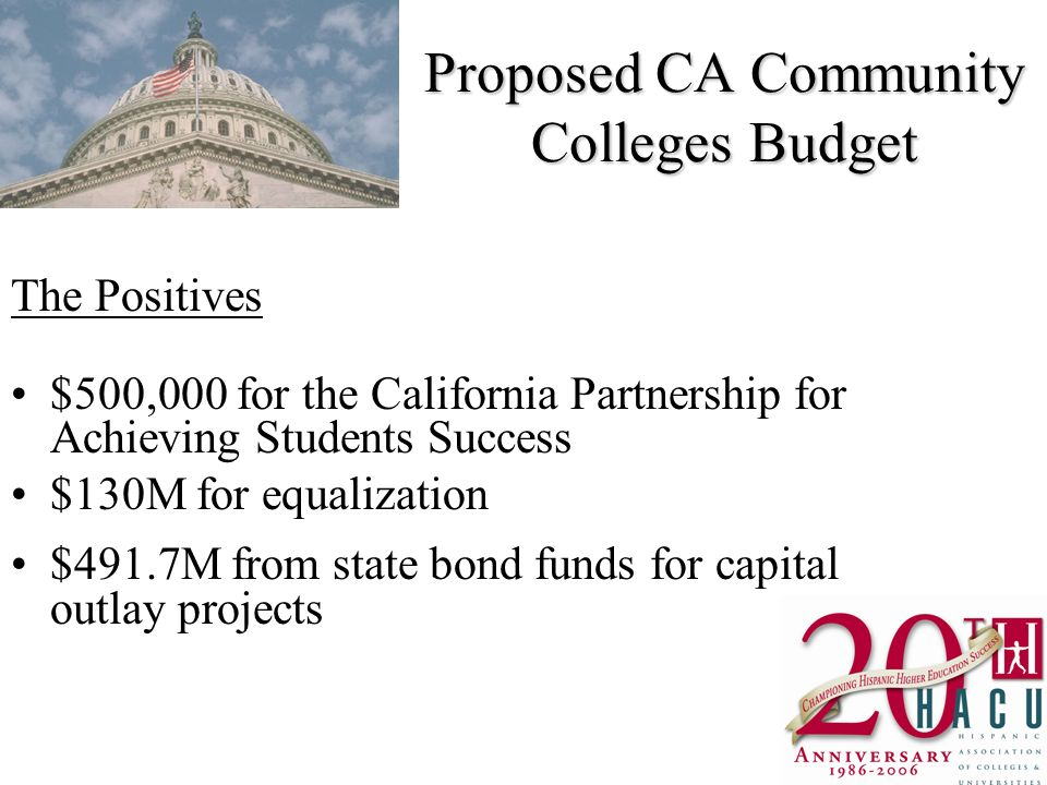 Proposed CA Community Colleges Budget The Positives $500,000 for the California Partnership for Achieving Students Success $130M for equalization $491.7M from state bond funds for capital outlay projects
