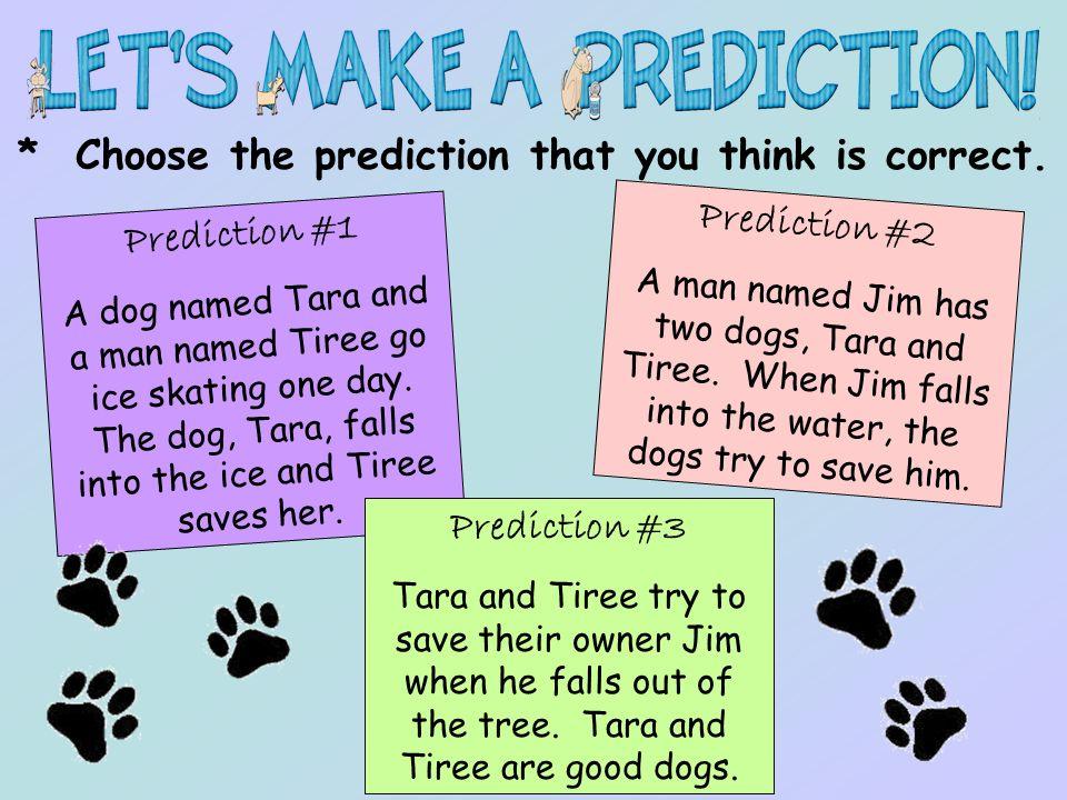 * Choose the prediction that you think is correct. Prediction #1 A dog named Tara and a man named Tiree go ice skating one day. The dog, Tara, falls i