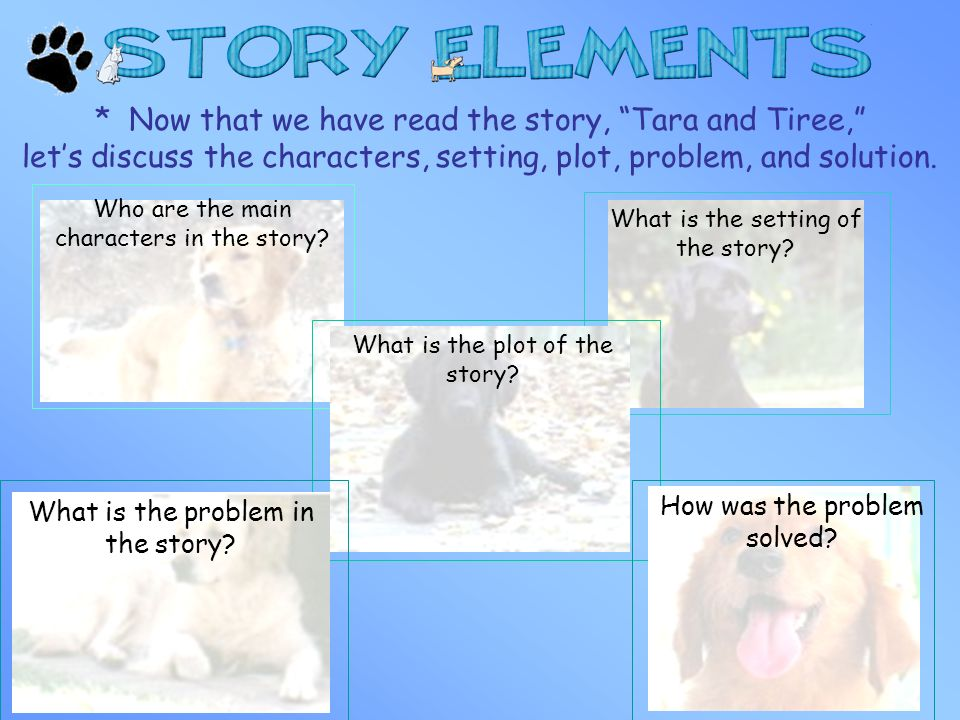 * Now that we have read the story, Tara and Tiree, lets discuss the characters, setting, plot, problem, and solution. Who are the main characters in t