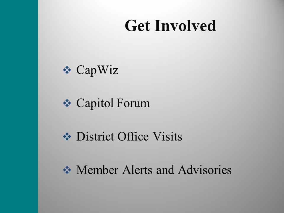 Get Involved CapWiz Capitol Forum District Office Visits Member Alerts and Advisories